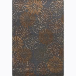 Hand-tufted Mandara Floral Grey Wool Rug (5' x 7'6)