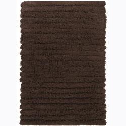 Hand-woven Mandara Brown Wool Shag Rug (5' x 7'6)
