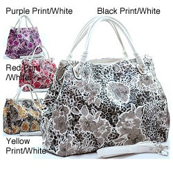 Dasein Leopard Floral Printed Faux Leather Satchel