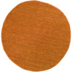 Hand-woven Orange Goldfinch Natural Fiber Jute Rug (8' Round)