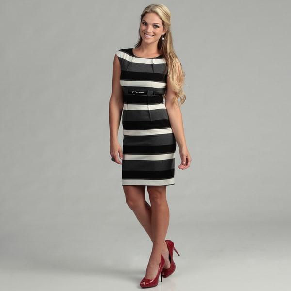 Calvin Klein Women's Grey Striped Dress