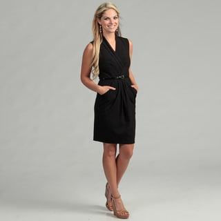Calvin Klein Women's Black Ruched Belted Dress