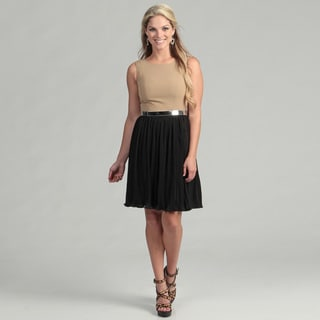 Calvin Klein Women's Camel/ Black Belted Dress