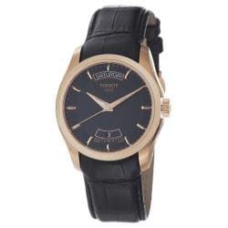 Tissot Men's 'Couturier' Rose Gold Black Leather Strap Watch