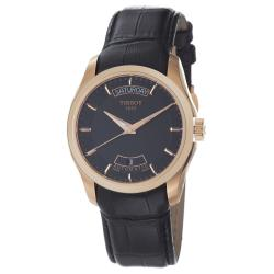 Tissot Men's T035.407.36.051.00 'Couturier' Rose Gold Black Leather Strap Watch