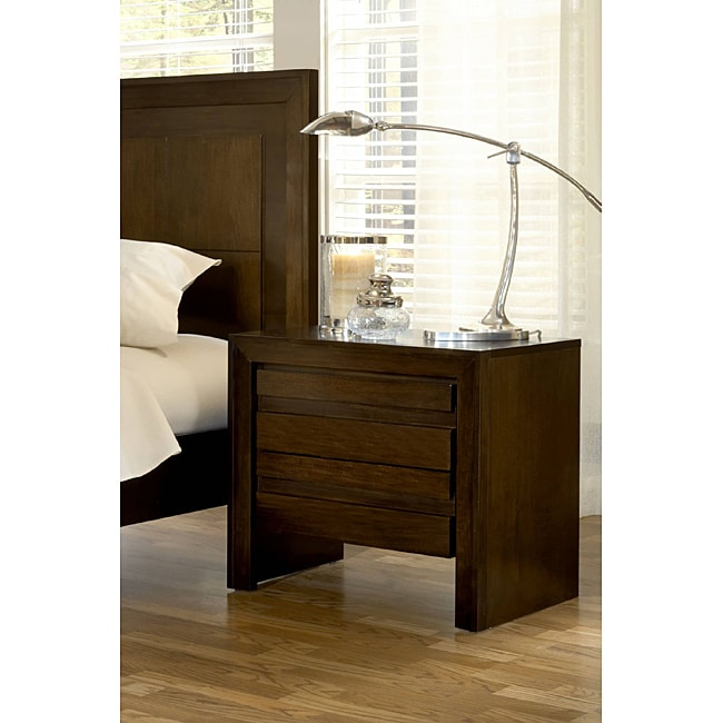 2-drawer Finger Pull Nightstand with Power Strip