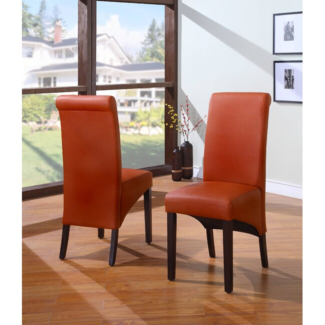 Sleigh Back Orange Parsons Dining Chair (Set of 2)