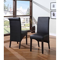 Sleigh Back Black Parsons Chair (Set of 2)