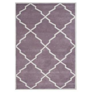Alliyah Handmade Lilac New Zealand Blend Wool Rug (8x10)