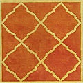 Handmade Tufted World Classic Rust Wool Rug (6' x 6')
