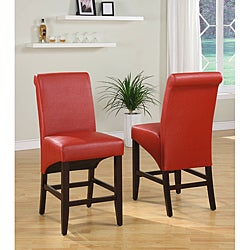 Sleigh Back Red Counter Stool (Set of 2)