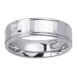 14k White Gold Men's Faceted Surface Wedding Band
