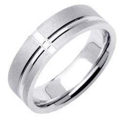 14k White Gold Men's Single Groove Wedding Band