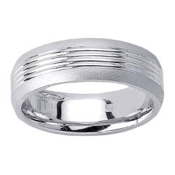 14k White Gold Men's Triple Groove Wedding Band