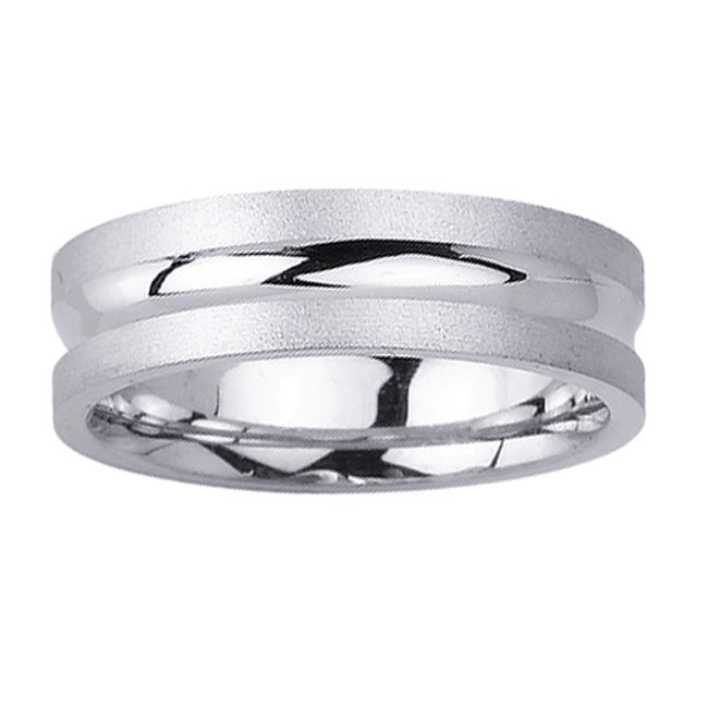 14k White Gold Men's Center Groove Wedding Band