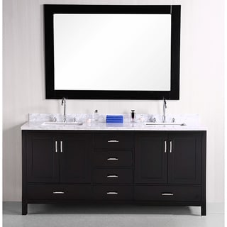 Design Element Espresso Solid Wood Transitional Double Sink Bathroom Vanity
