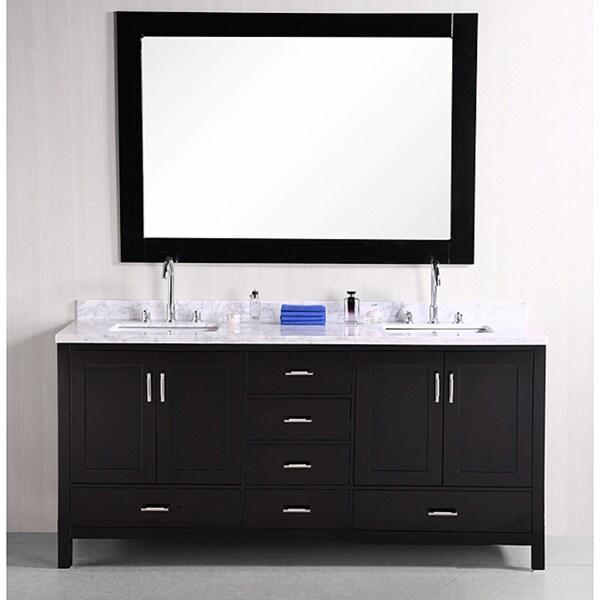 Design Element Espresso Solid Wood Transitional Double Sink Bathroom Vanity