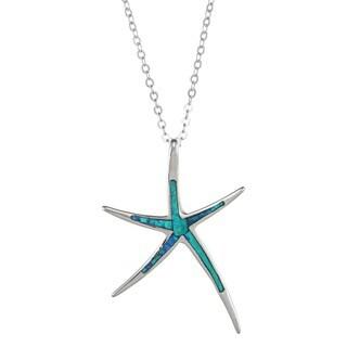La Preciosa Sterling Silver Created Blue Opal Starfish Necklace