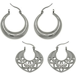 CGC Stainless Steel Polished 2-pair Hoop Earring Set