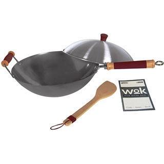 Concept Housewares Professional Carbon Steel 4-Piece 14-Inch Wok