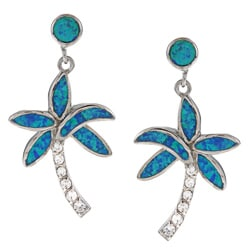 La Preciosa Sterling Silver Created Blue Opal and CZ Palm Tree Earrings