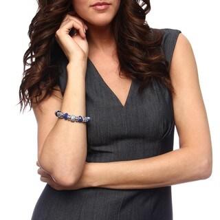 La Preciosa Silvertone Blue Crystal Bead Charm Pandora-style Bracelet