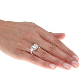 La Preciosa Sterling Silver Micro Pave Square CZ Ring