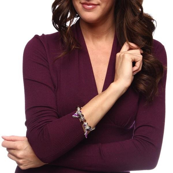 La Preciosa Silvertone Purple Crystal Bead Charm Bracelet   14094902