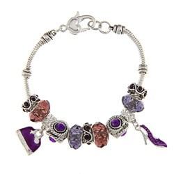 La Preciosa Silvertone Purple Crystal Bead Charm Pandora-style Bracelet