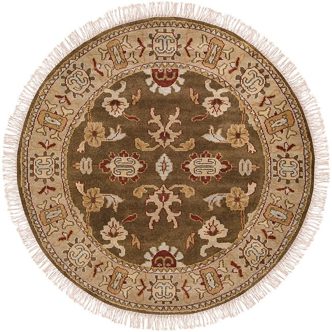 Hand-knotted Brown Southwestern Cargo New Zealand Wool Rug (8' Round)