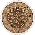 Hand-knotted Green Southwestern Cargo New Zealand Wool Rug (8' Round)