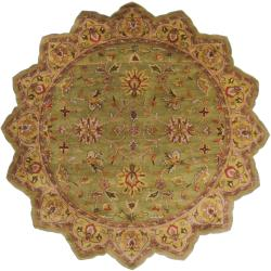 Hand-tufted Green Enyo Wool Rug (8' Round)