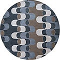 Hand-tufted Contemporary Canum Grey/Blue Zealand Wool Abstract Rug (6' Round)