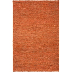 Hand-woven Orange Orcutti Natural Fiber Hemp Rug (8' x 11')