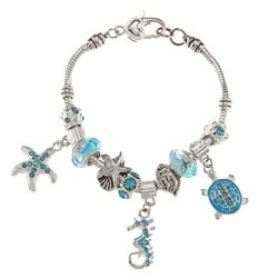 La Preciosa Silvertone Light Blue Crystal Sea Life Design Bead Bracelet