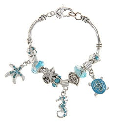 La Preciosa Silvertone Light Blue Crystal Sea Life Design Bead Pandora-style Bracelet