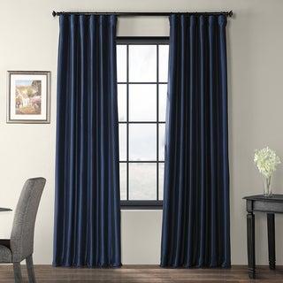 Exclusive Fabrics Solid Faux Silk Taffeta Navy Blue Curtain Panel