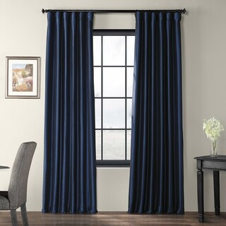 Solid Faux Silk Taffeta Navy Blue Curtain Panel