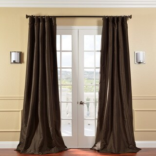 Solid Faux Silk Taffeta Latte 96-inch Curtain Panel