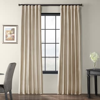 Solid Faux Silk Taffeta Antique Beige 84-inch Curtain Panel