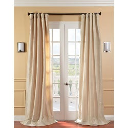 Solid Faux Silk Taffeta Antique Beige Curtain Panel