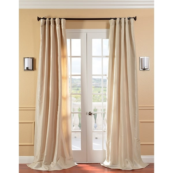 Solid Faux Silk Taffeta Antique Beige 96-inch Curtain Panel
