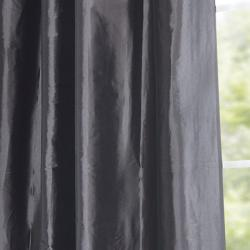 Ruched Header Graphite Faux Silk Taffeta 84-inch Curtain Panel