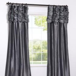 Ruched Header Graphite Faux Silk Taffeta 96-inch Curtain Panel
