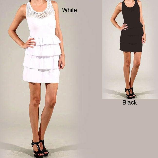 Tabeez Women's Layered Mesh Sleeveless Dress