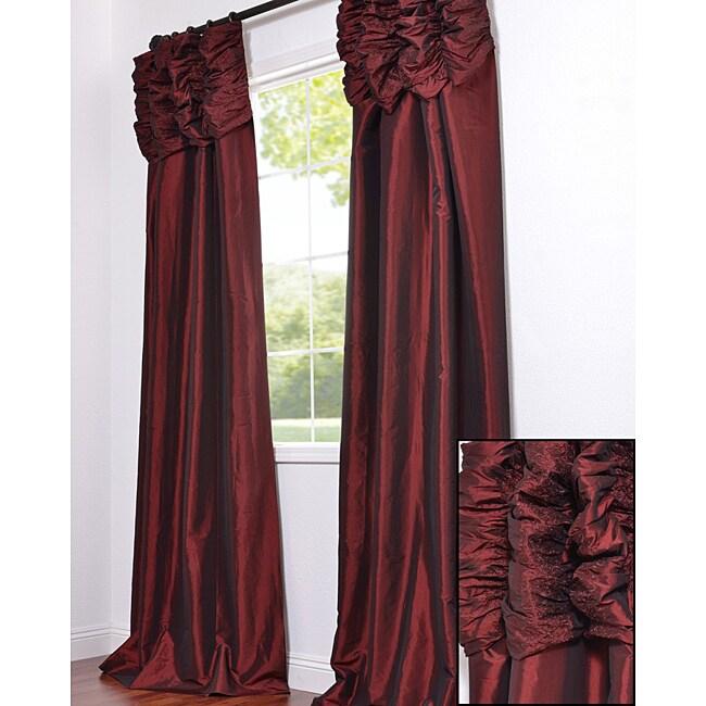 EFF Ruched Header Syrah Faux Silk Taffeta 120-inch Curtain Panel