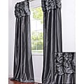 Ruched Header Graphite Faux Silk Taffeta 120-inch Curtain Panel