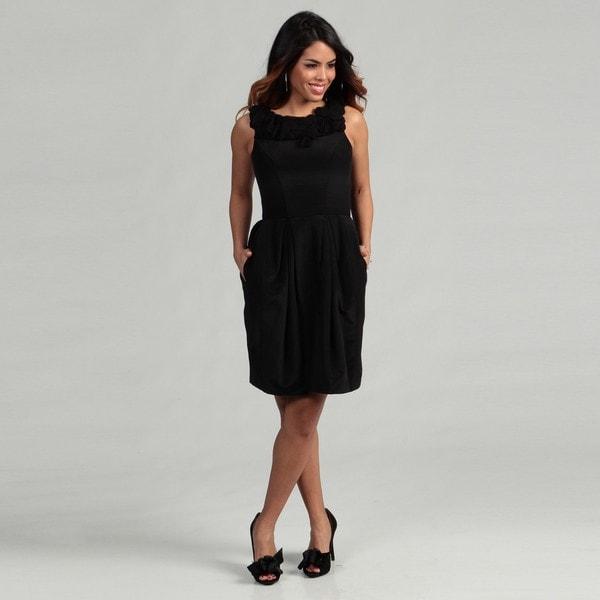 Taylor Women's Black Chiffon Twisted Neck Pleated Dress