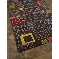 Hand-tufted Grey Wool Rug (3'6 x 5'6)