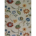 Hand-Tufted White Floral Wool and Art Silk Area Rug (3'6 x 5'6)